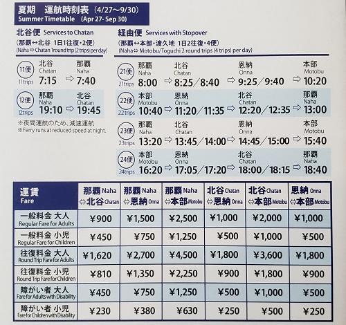 定期船時刻表